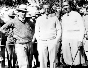 The Match of the Century: Bobby Jones, their Referee, and Walter Hagen. (Photo by AP)