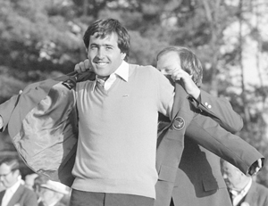 Seve Ballesteros after 1983 victory. (Photo from augusta.com)