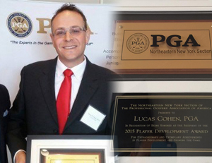 Lucas after recieving the Player Development award at the 2015 NENY PGA.
