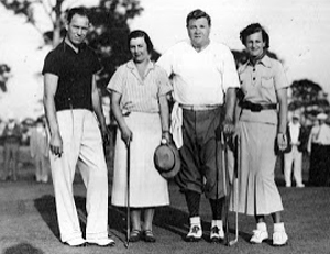 Babe Zaharias with Babe Ruth during golf event