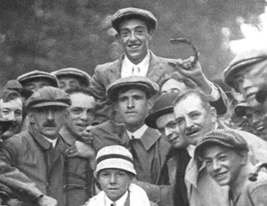 Victorious Francis Oumet after the 1913 U.S. Open